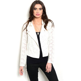 Shop the Trends Women's Long Sleeve Moto Style Lace Asymmetric Zip Jacket