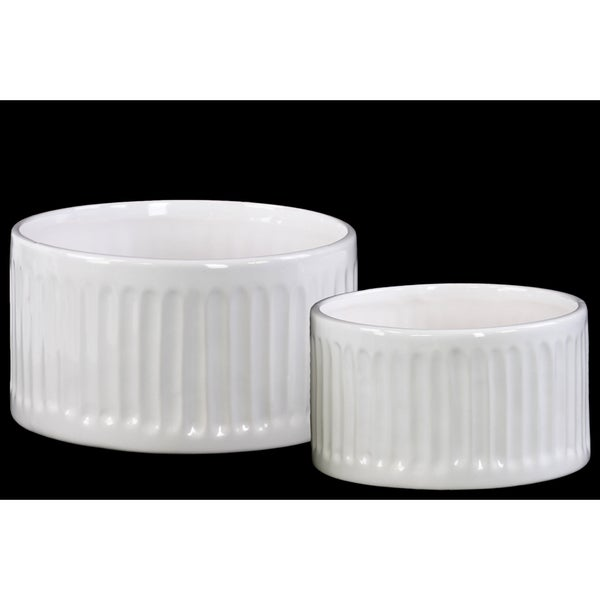 Ceramic Short Round Pot Set of Two Ribbed Gloss Finish White