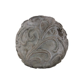Washed Grey Cement Ornamental Large Sphere with Embossed Swirl Design