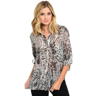 Shop the Trends Women's 3/4 Folded Sleeve Abstract Print Woven Button Down Top
