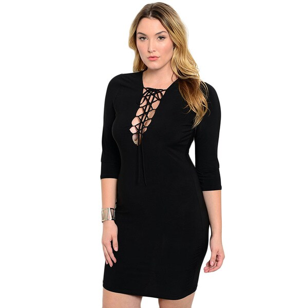 Shop the Trends Women's Plus Size 3/4 Sleeve Plunging Neck Bodycon Dress With Lace Up Detail