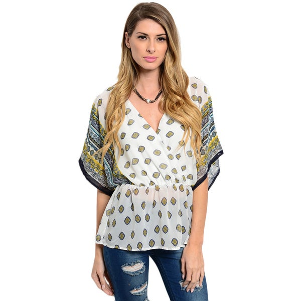 Shop the Trends Women's 3/4 Sleeve Mixed Multicolored Print Woven V-Neck Chiffon Top