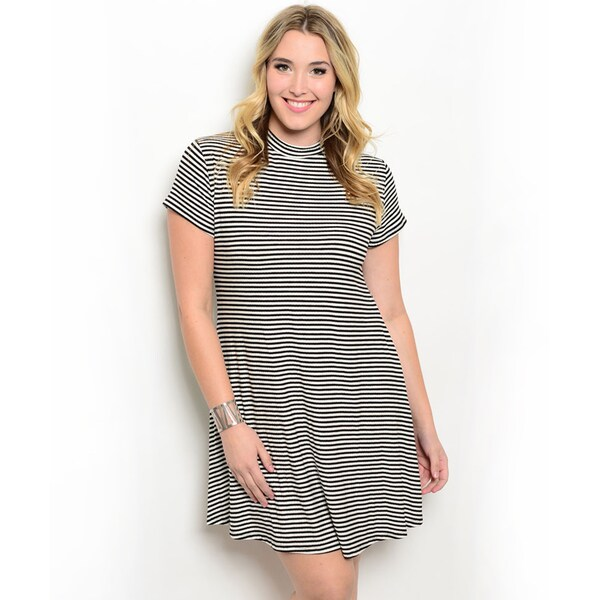 Shop the Trends Women's Plus Size Short Sleeve Allover Stripe Mock Neck Dress