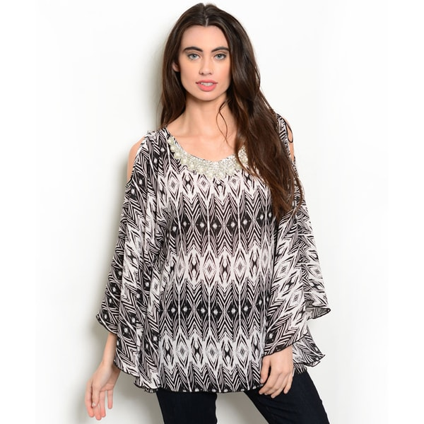 Shop the Trends Women's 3/4 Sleeve Allover Tribal Print Top With Embroidered Neckline