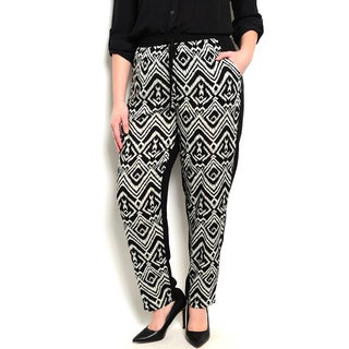Shop the Trends Women's Plus Size Allover Tribal Print Gathered Waistline Pants