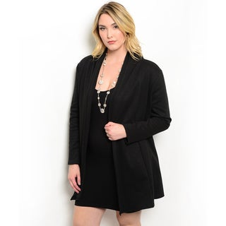 Shop the Trends Women's Plus Size Long Sleeve Open Front Cardigan