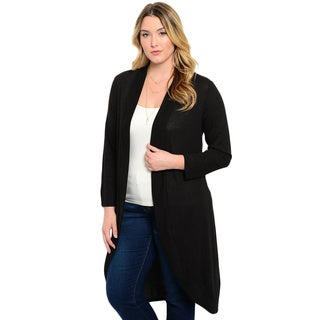 Shop the Trends Women's Plus Size Long Sleeve Tiger Print Open Front Cardigan