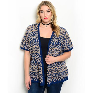 Shop the Trends Women's Plus Size Short Sleeve Tribal Print Knit Cardigan