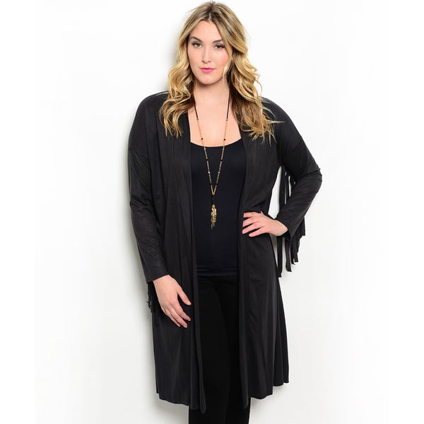Shop the Trends Women's Plus Size Long Sleeve Open Front Cardigan With Longline Hem