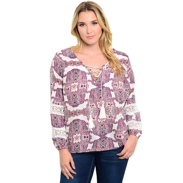 Shop the Trends Women's Plus Size Long Sleeve Lace Up Corset Woven Top