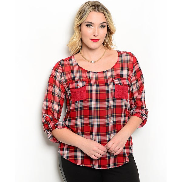 Shop the Trends Women's Plus Size 3/4 Folded Sleeve Allover Plaid Top With Lace Insert Back