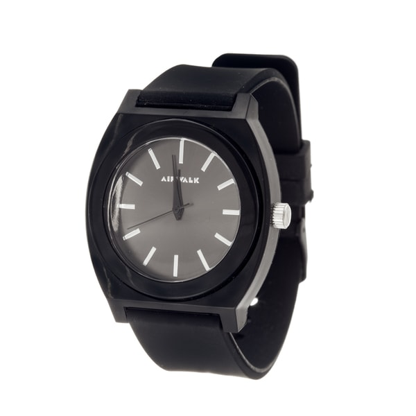 Airwalk Analog Black Case with Black Silicone Strap Watch