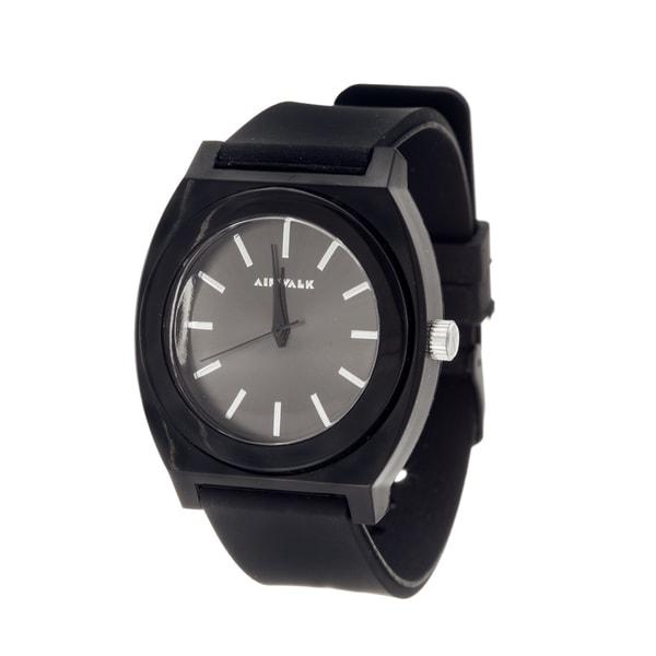 Airwalk Analog Black Case with Black Silicone Strap Watch