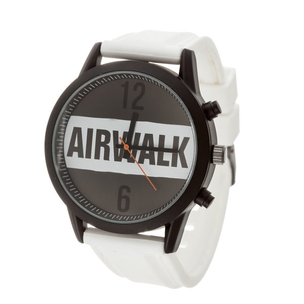 Airwalk Analog White Logo Dial with White Silicone Strap Watch