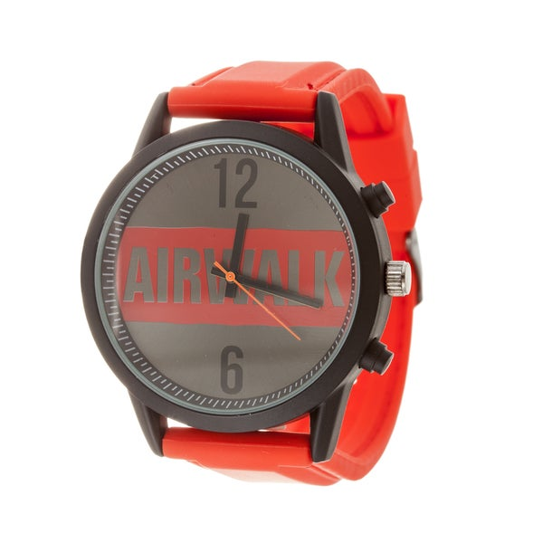Airwalk Analog Red Logo Dial with Red Silicone Strap Watch