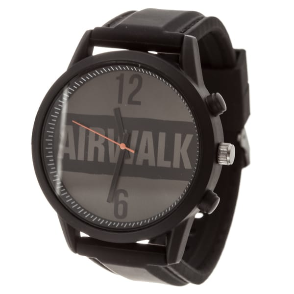 Airwalk Analog Black Logo Dial with Black Silicone Strap Watch