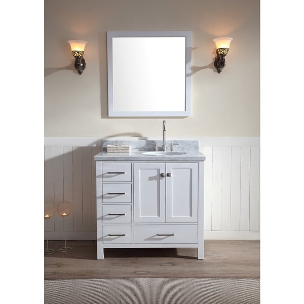 Cambridge 37-inch Single Sink Vanity Set with Right Offset Sink in White