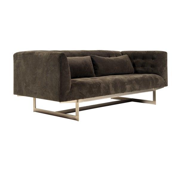 Baxter Grey/ Brown Tufted Sofa
