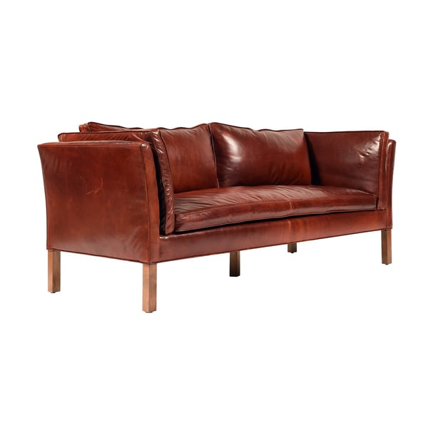 Aubrey Merlot Leather Sofa