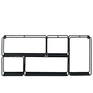 Urban Trends 5-Compartment Black Metal Wall Shelf