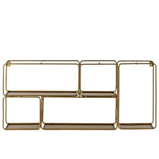 Urban Trends 5-Compartment Gold Metal Rectangular Wall Shelf