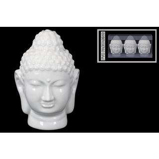 Urban Trends Buddha Head Gloss White Ceramic Figurine (Set of 3)