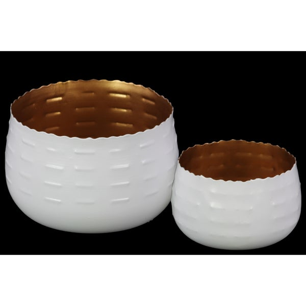 Urban Trends Gold Interior/ White Finish Round Metal Candle Holder (Set of 2)