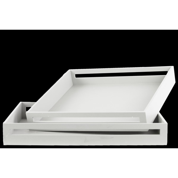 Urban Trends Square White Wood Serving Tray (Cut of 2)