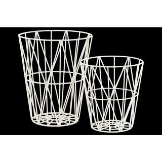 Urban Trends Round Interwoven White Metal Baskets (Set of 2)