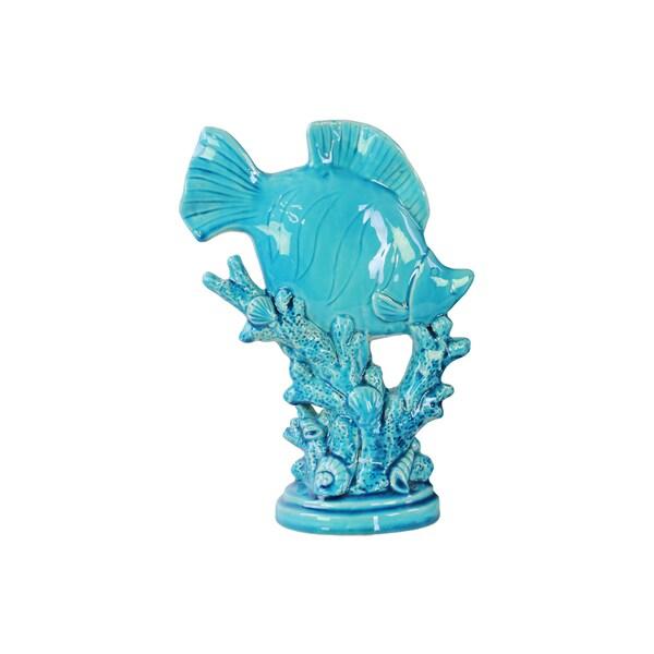 Blue Gloss Ceramic Fish Figurine on Seaweed Pedestal