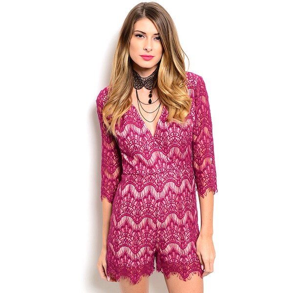 Shop the Trends Women's 3/4 Lace Sleeve Wrapped V-Neckline Scalloped Hem Romper