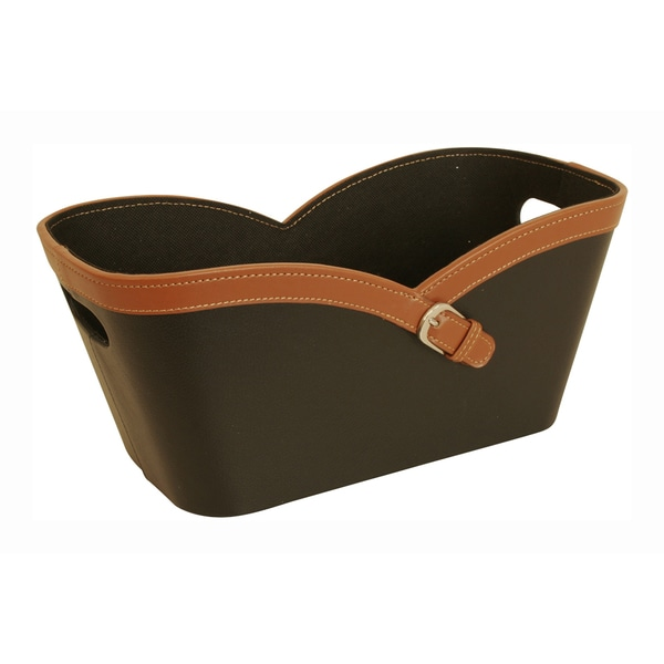 Buckle Tote - Small, Black and Tan