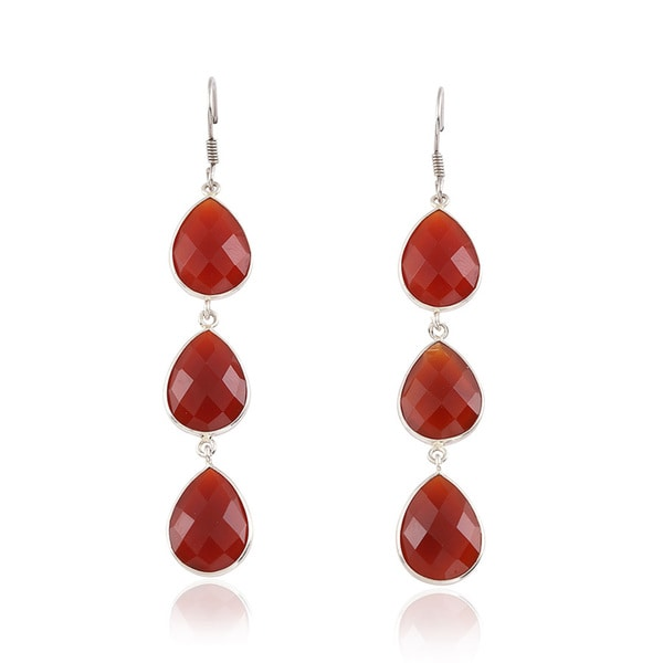 Sterling Silver 16x12 mm Pear Red Onyx Triple Drop Earrings