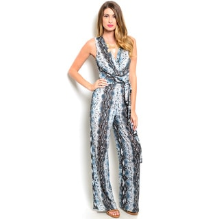 Shop the Trends Women's Sleeveless Abstract Print Jumpsuit With V-Neckline
