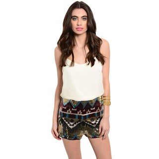 Shop the Trends Women's Spaghetti Strap Combination Multicolored Tribal Sequin Short Romper