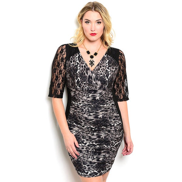 Shop the Trends Women's Plus Size Short Lace Sleeve Animal Print Bodycon Dress