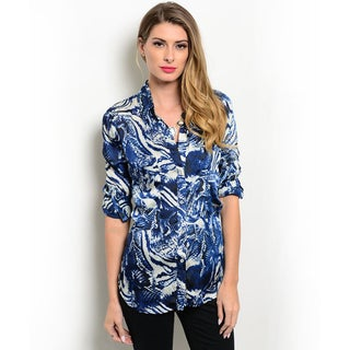 Shop the Trends Women's 3/4 Folded Sleeve Abstract Print Woven Top