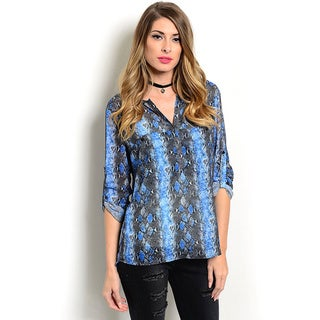 Shop the Trends Women's Allover Snake Print Button Up Neckline 3/4 Folded Sleeve Sheer Top