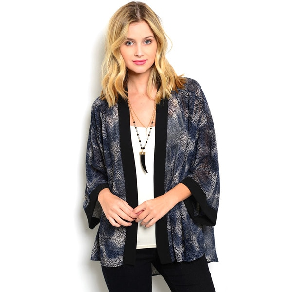 Shop the Trends Women's 3/4 Sleeve Allover Abstract Pattern Open Front Kimono Cardigan