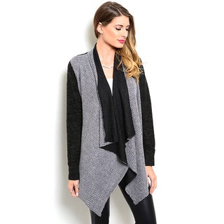 Shop the Trends Women's Long Sleeve Two Tone Open Front Cardigan