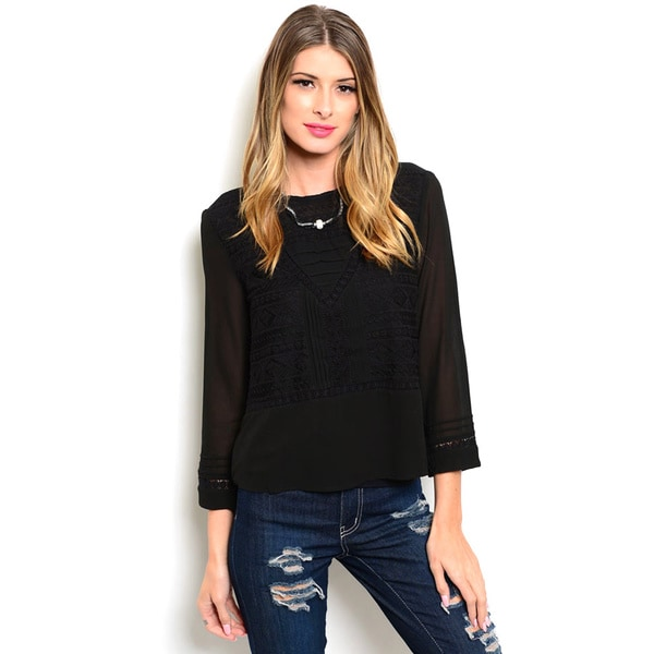 Shop the Trends Women's 3/4 Sleeve Embroidered Stitch Blouse