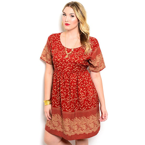 Shop the Trends Women's Plus Size Short Sleeve Mixed Print Baby Doll Dress