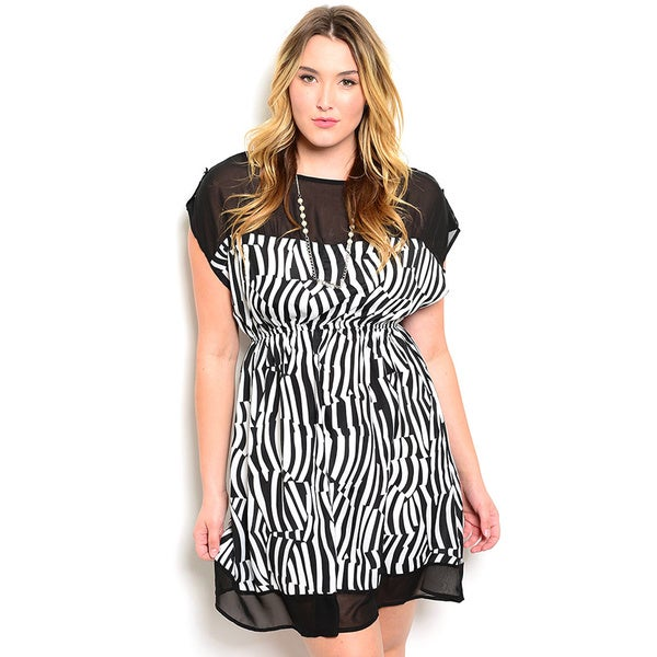 Shop the Trends Women's Plus Size Cap Sleeve Allover Zebra Print Sheer Yoke Dress
