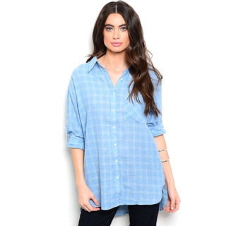 Shop the Trends Women's 3/4 Folded Sleeve Allover Plaid Print Button Down Top With Hi-Low Hem