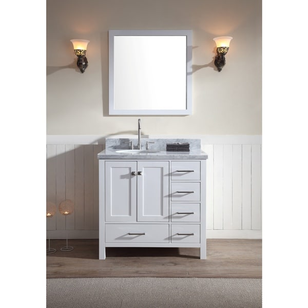 Cambridge 37-inch Single Sink Vanity Set with Left Offset Sink in White