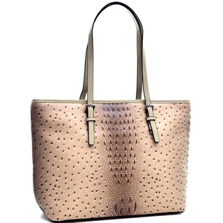 Dasein Ostrich Faux Leather Tote with Patent Leather Trim