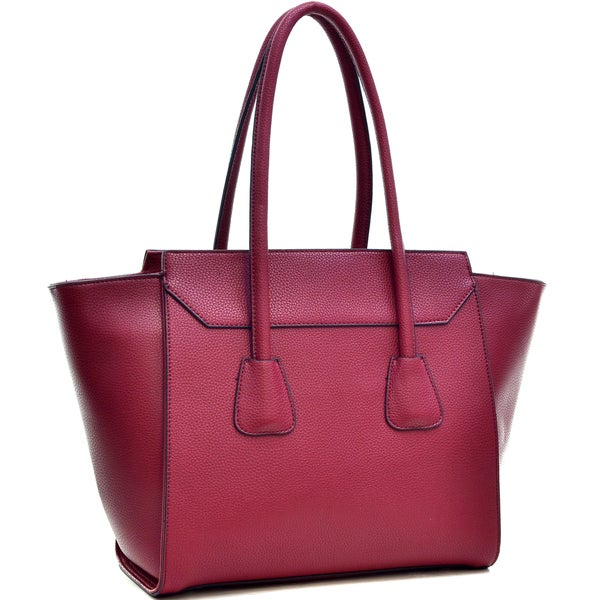 Dasein Faux Leather Winged Satchel Women Shoulder Bag