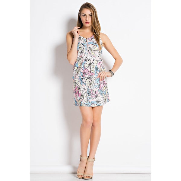 Tea N Rose Women's Butterfly Print Mini Dress and Contrast Straps