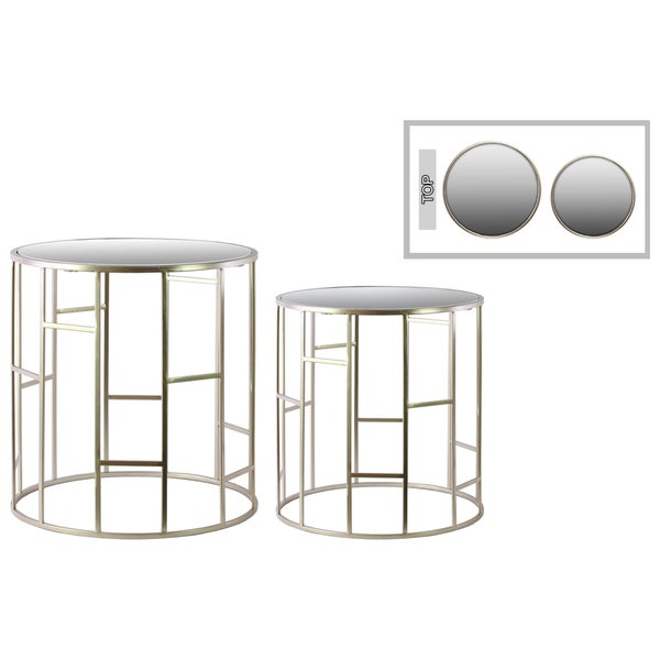 Metallic Champagne Finish Metal Round Nesting Accent Table with Vertical and Horizontal Design and Mirror Top (Set of 2)