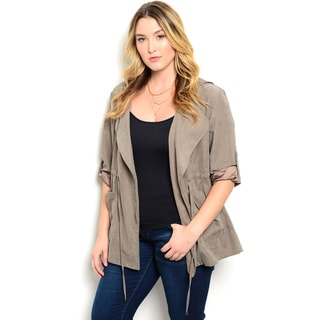 Shop the Trends Women's Plus Size Drape Front Faux Suede Jacket with Roll Sleeves